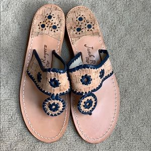 Jack Rogers Navy, Cork, and Gold Sandals